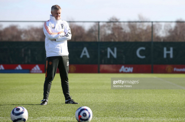 <div>MANCHESTER, ENGLAND - FEBRUARY 26: (EXCLUSIVE COVERAGE) Manager Ole Gunnar Solskjaer of Manchester United in action during a first team training session at Aon Training Complex on February 26, 2021 in Manchester, England. (Photo by Matthew Peters/Manchester United via Getty Images)</div><div><br></div>