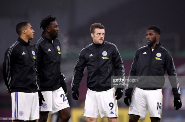 BURNLEY, ENGLAND - MARCH 03: (L-R) Youri Tielemans, Wilfred Ndidi, Jamie Vardy and Kelechi Iheanacho of Leicester City during the Premier League match between Burnley and Leicester City at Turf Moor on March 03, 2021 in Burnley, England. Sporting stadiums around the UK remain under strict restrictions due to the Coronavirus Pandemic as Government social distancing laws prohibit fans inside venues resulting in games being played behind closed doors. (Photo by Alex Pantling/Getty Images)