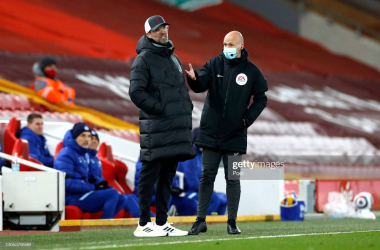 <div>LIVERPOOL, ENGLAND - MARCH 04: Fourth Official Anthony Taylor speaks with Jurgen Klopp, Manager of Liverpool during the Premier League match between Liverpool and Chelsea at Anfield on March 04, 2021 in Liverpool, England. Sporting stadiums around the UK remain under strict restrictions due to the Coronavirus Pandemic as Government social distancing laws prohibit fans inside venues resulting in games being played behind closed doors. (Photo by Phil Noble - Pool/Getty Images)</div><div><br></div>
