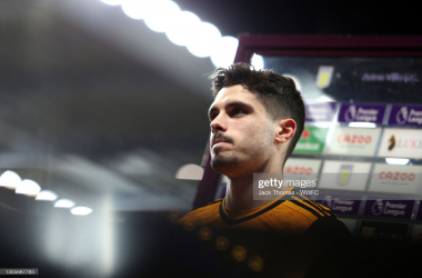 Pedro Neto of Wolverhampton Wanderers is interviewed after the Premier League match between Aston Villa and Wolverhampton Wanderers at Villa Park on March 06, 2021 in Birmingham, England. Sporting stadiums around the UK remain under strict restrictions due to the Coronavirus Pandemic as Government social distancing laws prohibit fans inside venues resulting in games being played behind closed doors. (Photo by Jack Thomas - WWFC/Wolves via Getty Images)
