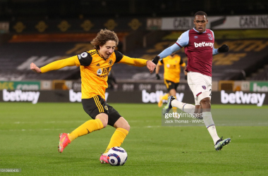 WOLVERHAMPTON, ENGLAND - APRIL 05: Fabio Silva of Wolverhampton Wanderers scores their team's second goal during the Premier League match between Wolverhampton Wanderers and West Ham United at Molineux on April 05, 2021 in Wolverhampton, England. Sporting stadiums around the UK remain under strict restrictions due to the Coronavirus Pandemic as Government social distancing laws prohibit fans inside venues resulting in games being played behind closed doors. (Photo by Jack Thomas - WWFC/Wolves via Getty Images)