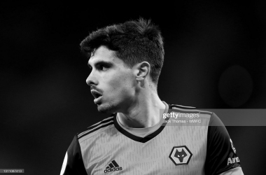 WOLVERHAMPTON, ENGLAND - APRIL 05: (EDITOR'S NOTE: This image has been converted to black and white). Pedro Neto of Wolverhampton Wanderers looks on during the Premier League match between Wolverhampton Wanderers and West Ham United at Molineux on April 05, 2021 in Wolverhampton, England. Sporting stadiums around the UK remain under strict restrictions due to the Coronavirus Pandemic as Government social distancing laws prohibit fans inside venues resulting in games being played behind closed doors. (Photo by Jack Thomas - WWFC/Wolves via Getty Images)