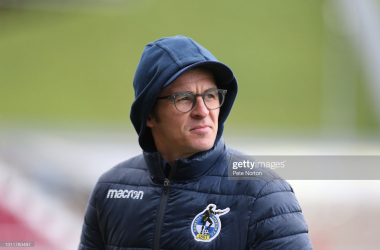 Above: Bristol Rovers manager Joey Barton reflects on his side's victory over Walsall. (Photo taken by Pete Norton/Getty Images)