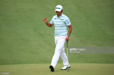 AUGUSTA, GEORGIA - APRIL 10: Hideki Matsuyama of Japan reacts to his putt on the tenth green during the third round of the Masters at Augusta National Golf Club on April 10, 2021 in Augusta, Georgia. (Photo by Mike Ehrmann/Getty Images)