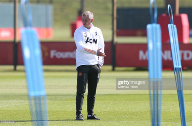 MANCHESTER, ENGLAND - APRIL 16: (EXCLUSIVE COVERAGE) Manager Ole Gunnar Solskjaer of Manchester United in action during a first team training session at Aon Training Complex on April 16, 2021 in Manchester, England. (Photo by Matthew Peters/Manchester United via Getty Images)