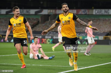 WOLVERHAMPTON, ENGLAND - APRIL 17: Willian Jose of Wolverhampton Wanderers celebrates after scoring his team's first goal during the Premier League match between Wolverhampton Wanderers and Sheffield United at Molineux on April 17, 2021 in Wolverhampton, England. Sporting stadiums around the UK remain under strict restrictions due to the Coronavirus Pandemic as Government social distancing laws prohibit fans inside venues resulting in games being played behind closed doors. (Photo by Jack Thomas - WWFC/Wolves via Getty Images)