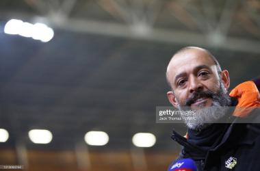: Nuno Espirito Santo, Manager of Wolverhampton Wanderers is interviewed following the Premier League match between Wolverhampton Wanderers and Sheffield United at Molineux on April 17, 2021 in Wolverhampton, England. Sporting stadiums around the UK remain under strict restrictions due to the Coronavirus Pandemic as Government social distancing laws prohibit fans inside venues resulting in games being played behind closed doors. (Photo by Jack Thomas - WWFC/Wolves via Getty Images)