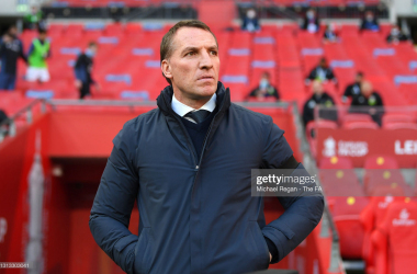 LONDON, ENGLAND - APRIL 18: Brendan Rogers, Manager of Leicester City looks on during the Semi Final of the Emirates FA Cup match between Leicester City and Southampton FC at Wembley Stadium on April 18, 2021 in London, England. 4000 local residents have been permitted to attend the match as part of the government's Events Research Programme, which will study how to safely hold major events once coronavirus lockdown measures are eased. Other sporting events around the United Kingdom continue to be played behind closed doors. (Photo by Michael Regan - The FA/The FA via Getty Images)