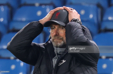 Disappointment for Jugen Klopp and his side from their last game against Leeds United as a 87th minute header from Diego Llorente prevented the Reds from securing all three points - photo by Clive Brunskill via Getty Images