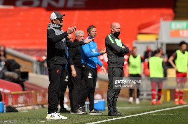 LIVERPOOL, ENGLAND - APRIL 24: Jurgen Klopp, Manager of Liverpool gives instructions to their side during the Premier League match between Liverpool and Newcastle United at Anfield on April 24, 2021 in Liverpool, England. Sporting stadiums around the UK remain under strict restrictions due to the Coronavirus Pandemic as Government social distancing laws prohibit fans inside venues resulting in games being played behind closed doors. (Photo by Clive Brunskill/Getty Images)