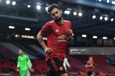 Bruno Fernandes celebrates giving Manchester United a 1-0 lead against AS Roma. Photo by Michael Regan/ Getty Images