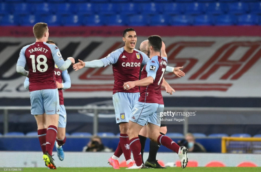 Anwar El Ghazi of Aston Villa celebrates with John McGinn after scoring their side's second goal during the Premier League match between Everton and Aston Villa at Goodison Park on May 01, 2021 (Photo by Michael Regan/Getty Images)