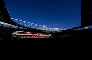 <div>LONDON, ENGLAND - MAY 06: A general view inside the Emirates Stadium prior to the UEFA Europa League Semi-final Second Leg match between Arsenal and Villareal CF at Emirates Stadium on May 06, 2021 in London, England. Sporting stadiums around Europe remain under strict restrictions due to the Coronavirus Pandemic as Government social distancing laws prohibit fans inside venues resulting in games being played behind closed doors. (Photo by Pedro Salado/Quality Sport Images/Getty Images)</div><div><br></div>