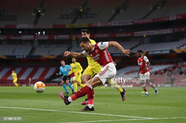 Pablo Mari of Arsenal clears the ball during the UEFA Europa League Semi-final Second Leg match between Arsenal and Villareal CF at Emirates Stadium on May 06, 2021 in London, England. Sporting stadiums around Europe remain under strict restrictions due to the Coronavirus Pandemic as Government social distancing laws prohibit fans inside venues resulting in games being played behind closed doors. (Photo by Shaun Botterill/Getty Images)