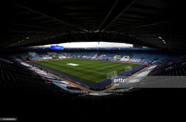 <div>LEICESTER, ENGLAND - MAY 07: General view inside the stadium prior to the Premier League match between Leicester City and Newcastle United at The King Power Stadium on May 07, 2021 in Leicester, England. Sporting stadiums around the UK remain under strict restrictions due to the Coronavirus Pandemic as Government social distancing laws prohibit fans inside venues resulting in games being played behind closed doors. (Photo by Nick Potts - Pool/Getty Images)</div><div><br></div>