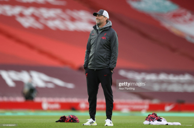 LIVERPOOL, ENGLAND - MAY 08: Jurgen Klopp, Manager of Liverpool reacts during the warm up prior to the Premier League match between Liverpool and Southampton at Anfield on May 08, 2021 in Liverpool, England. Sporting stadiums around the UK remain under strict restrictions due to the Coronavirus Pandemic as Government social distancing laws prohibit fans inside venues resulting in games being played behind closed doors. (Photo by Alex Pantling/Getty Images)