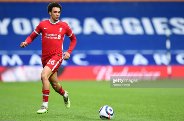 WEST BROMWICH, ENGLAND - MAY 16: (THE SUN OUT,THE SUN ON SUNDAY OUT) Trent Alexander-Arnold of Liverpool during the Premier League match between West Bromwich Albion and Liverpool at The Hawthorns on May 16, 2021 in West Bromwich, England. (Photo by Andrew Powell/Liverpool FC via Getty Images)