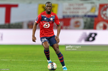 LILLE, FRANCE - MAY 16: Boubakary Soumare of Lille OSC in action during the Ligue 1 match between Lille OSC and AS Saint-Etienne at Stade Pierre Mauroy on May 16, 2021 in Lille, France. (Photo by Sylvain Lefevre/Getty Images)