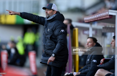 BURNLEY, ENGLAND - MAY 19: Liverpool manager Jürgen Klopp during the Premier League match between Burnley and Liverpool at Turf Moor on May 19, 2021 in Burnley, England. (Photo by Gareth Copley/Getty Images)