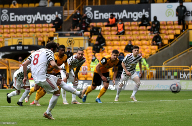 WOLVERHAMPTON, ENGLAND - MAY 23: Juan Mata of Manchester United scores their team's second goal from the penalty spot during the Premier League match between Wolverhampton Wanderers and Manchester United at Molineux on May 23, 2021 in Wolverhampton, England. A limited number of fans will be allowed into Premier League stadiums as Coronavirus restrictions begin to ease in the UK. (Photo by Rui Vieira - Pool/Getty Images)