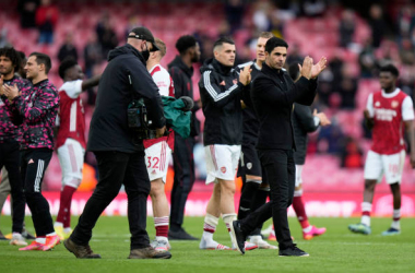 LONDON, ENGLAND - MAY 23: Mikel Arteta, Manager of Arsenal claps the fans following the Premier League match between Arsenal and Brighton & Hove Albion at Emirates Stadium on May 23, 2021 in London, England. A limited number of fans will be allowed into Premier League stadiums as Coronavirus restrictions begin to ease in the UK. (Photo by Alastair Grant - Pool/Getty Images)