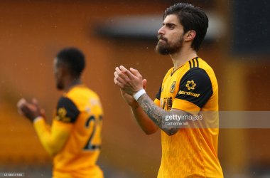 WOLVERHAMPTON, ENGLAND - MAY 23: Ruben Neves of Wolverhampton Wanderers applauds after the Premier League match between Wolverhampton Wanderers and Manchester United at Molineux on May 23, 2021 in Wolverhampton, England. A limited number of fans will be allowed into Premier League stadiums as Coronavirus restrictions begin to ease in the UK following the COVID-19 pandemic. (Photo by Catherine Ivill/Getty Images)