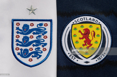 MANCHESTER, ENGLAND - MAY 27: The England and Scotland badges on their home shirts ahead of the UEFA 2020 European Football Championship on May 27, 2021 in Manchester, United Kingdom. (Photo by Visionhaus/Getty Images)
