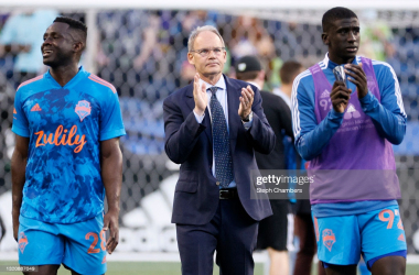 SEATTLE, WASHINGTON - MAY 30: Head coach Brian Schmetzer (C) of Seattle Sounders reacts after a 0-0 draw against the Austin FC at Lumen Field on May 30, 2021 in Seattle, Washington. (Photo by Steph Chambers/Getty Images)