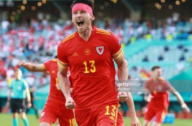 Welsh International Kieffer Moore celebrates after scoring against Switzerland at EURO 2020/Photo by MB Media/Getty Images