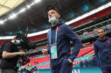 ONDON, ENGLAND - JUNE 29: Ben White of England looks on as he inspects the pitch prior to the UEFA Euro 2020 Championship Round of 16 match between England and Germany at Wembley Stadium on June 29, 2021 in London, England. (Photo by Alex Morton - UEFA/UEFA via Getty Images)