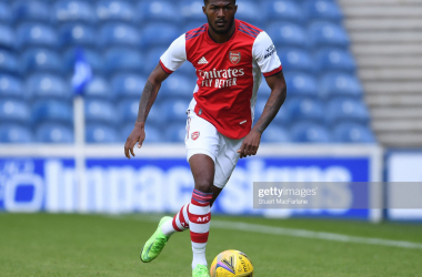 Maitland-Niles in action against Rangers in a pre-season friendly for Arsenal. (Photo by Stuart MacFarlane/Arsenal FC via Getty Images)