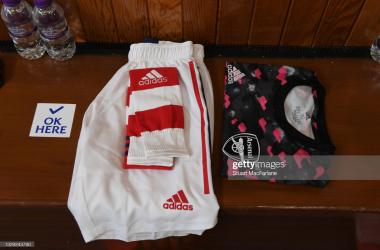 GLASGOW, SCOTLAND - JULY 17: Arsenal kit in the away changing room before the pre season friendly between Rangers and Arsenal at Ibrox Stadium on July 17, 2021 in Glasgow, Scotland. (Photo by Stuart MacFarlane/Arsenal FC via Getty Images)