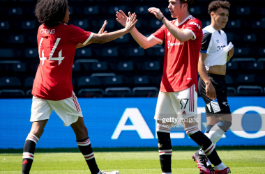 James Garner (right) celebrating Tahith Chong's (left) goal during 2-1 Derby County victory. Photo by Ash Donelon/Manchester United via Getty Images