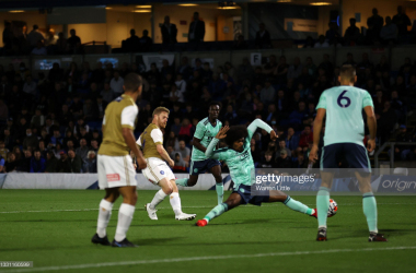 HIGH WYCOMBE, ENGLAND - JULY 28: Daryl Horgan of Wycombe Wanderers scores the opening goal during a pre-season friendly between Wycombe Wanderers and Leicester City at Adams Park on July 28, 2021 in High Wycombe, England. (Photo by Warren Little/Getty Images)