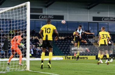 BURTON-UPON-TRENT, ENGLAND - JULY 30: Joelinton of Newcastle United FC (7) scores the second goal during the Pre Season Friendly between Burton Albion and Newcastle United at the Pirelli Stadium on July 30, 2021 in Burton-upon-Trent, England. (Photo by Serena Taylor/Newcastle United via Getty Images)
