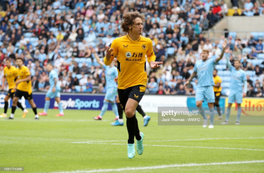 COVENTRY, ENGLAND - AUGUST 01: Fabio Silva of Wolverhampton Wanderers celebrates after scoring their side's first goal during the Pre-Season friendly match between Coventry City and Wolverhampton Wanderers at Ricoh Arena on August 01, 2021 in Coventry, England. (Photo by Jack Thomas - WWFC/Wolves via Getty Images)