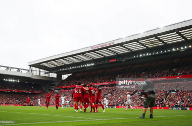 LIVERPOOL, ENGLAND - AUGUST 21: Mohamed Salah of Liverpool celebrates a goal with team mates which is later disallowed for offside by VAR during the Premier League match between Liverpool and Burnley at Anfield on August 21, 2021 in Liverpool, England. (Photo by Catherine Ivill/Getty Images)