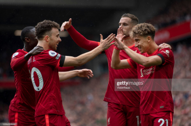 LIVERPOOL, ENGLAND - AUGUST 21: Diogo Jota of Liverpool celebrates scoring with team mates Konstantinos Tsimikas, Jordan Henderson and Naby Keïta during the Premier League match between Liverpool and Burnley at Anfield on August 21, 2021 in Liverpool, England. (Photo by Visionhaus/Getty Images)