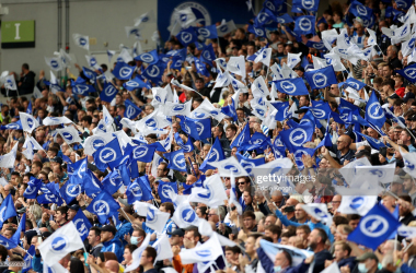BRIGHTON, ENGLAND - AUGUST 21: Brighton & Hove Albion fans wave flags before the Premier League match between Brighton & Hove Albion and Watford at American Express Community Stadium on August 21, 2021 in Brighton, England. (Photo by Eddie Keogh/Getty Images)<br>