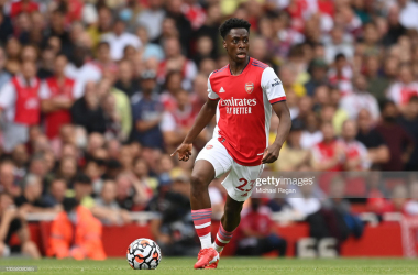 LONDON, ENGLAND - AUGUST 22: Albert Sambi Lokonga of Arsenal in action during the Premier League match between Arsenal and Chelsea at Emirates Stadium on August 22, 2021 in London, England. (Photo by Michael Regan/Getty Images)