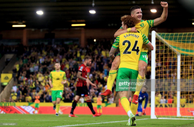 Christos Tzolis of Norwich City celebrates scoring his sides fifth goal during the Carabao Cup Second Round match between Norwich City and AFC Bournemouth at Carrow Road on August 24, 2021 in Norwich, England. (Photo by Stephen Pond/Getty Images)