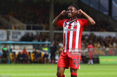 Nathan Tella of Southampton celebrates after scoring the second goal of the game during the Carabao Cup second round match between Newport County and Southampton FC, at Rodney Parade on August 25, 2021 in Newport, Wales. (Photo by Matt Watson/Southampton FC via Getty Images)