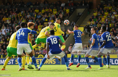 Kenny McLean of Norwich City scores a disallowed goal during the Premier League match between Norwich City and Leicester City at Carrow Road on August 28, 2021 in Norwich, England. (Photo by Justin Setterfield/Getty Images)