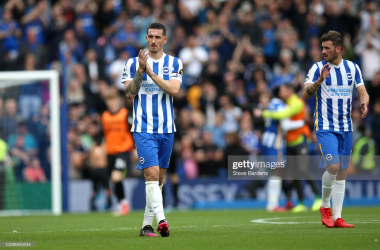BRIGHTON, ENGLAND - AUGUST 28: Lewis Dunk of Brighton and Hove Albion interacts with the crowd following the Premier League match between Brighton & Hove Albion and Everton at American Express Community Stadium on August 28, 2021 in Brighton, England. (Photo by Steve Bardens/Getty Images)
