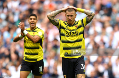 LONDON, ENGLAND - August 29th: Juraj Kucka of Watford holds his hands on his head after an early chance is cleared off the line. (Photo by Catherine Ivill via Getty Images)