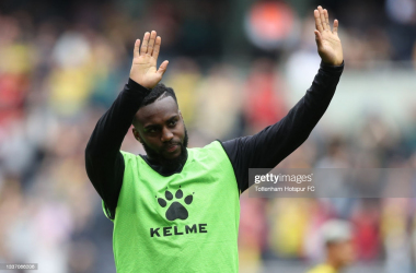 LONDON, ENGLAND - AUGUST 29: Danny Rose of Watford interacts with the crowd following the Premier League match between Tottenham Hotspur and Watford at Tottenham Hotspur Stadium on August 29, 2021 in London, England. (Photo by Tottenham Hotspur FC/Tottenham Hotspur FC via Getty Images)