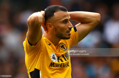 WOLVERHAMPTON, ENGLAND - AUGUST 29: Romain Saiss of Wolverhampton Wanderers reacts during the Premier League match between Wolverhampton Wanderers and Manchester United at Molineux on August 29, 2021 in Wolverhampton, England. (Photo by Chris Brunskill/Fantasista/Getty Images)