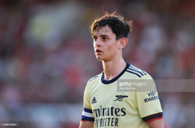 SWINDON, ENGLAND - SEPTEMBER 07: Charlie Patino of Arsenal looks on during the Papa John's Trophy match between Swindon Town and Arsenal U21 at County Ground on September 07, 2021 in Swindon, England. (Photo by Alex Burstow/Getty Images)
