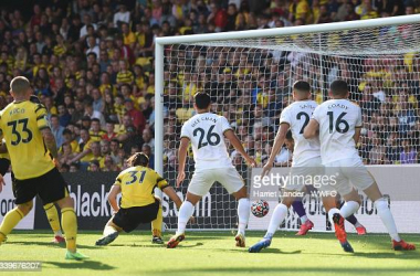 Francisco Sierralta of Watford FC scores an own goal, Wolverhampton Wanderers first goal during the Premier League match between Watford and Wolverhampton Wanderers at Vicarage Road on September 11, 2021 in Watford, England. (Photo by Harriet Lander - WWFC/Wolves via Getty Images)