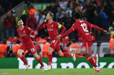 <div>LIVERPOOL, ENGLAND - SEPTEMBER 15: Jordan Henderson of Liverpool celebrates with teammates Joe Gomez and Andrew Robertson after scoring their side's third goal during the UEFA Champions League group B match between Liverpool FC and AC Milan at Anfield on September 15, 2021 in Liverpool, England. (Photo by Shaun Botterill/Getty Images)</div><div><br></div>